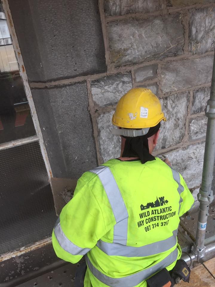 Restoration Specialists UCC Windle building the lime mortar pointing in Cork