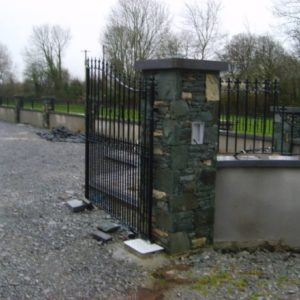 Stone Pillar with Security Gates Construction